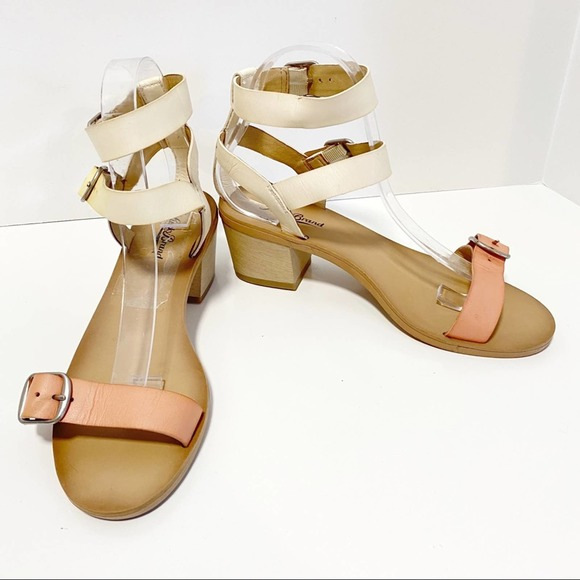 Lucky Brand Two Tone Leather Block Heel Sandals